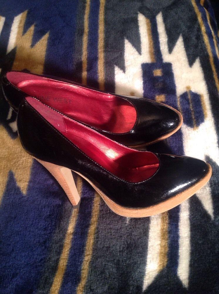 EUC ! NINE WEST Women's Genuine Patent Leather Platform Pump *SEXY* Shoes Sz 6M