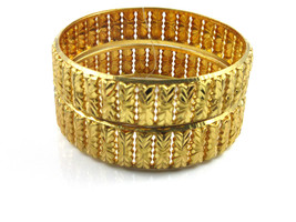 "Indian Ethnic Bollywood 2Pcs Gold Plated Fashion Bangle Bracelets Jewelry 2.12"" - $10.81"