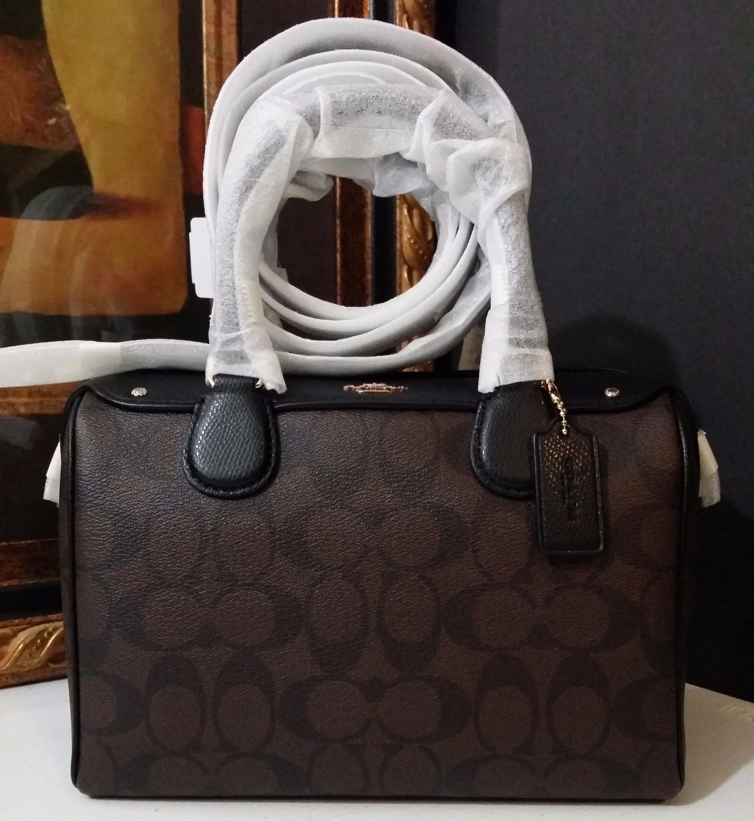 NWT COACH MINI BENNETT SATCHEL IN SIGNATURE F36702 IM/BROWN/BLACK $295