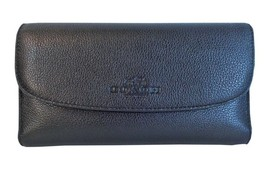 Coach Pebbled Leather Checkbook Wallet Clutch P... - $167.31