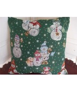 "Tapestry Accent Toss Pillow Winter Snowman Family Birdhouse Stars 16"" square  - $14.70"