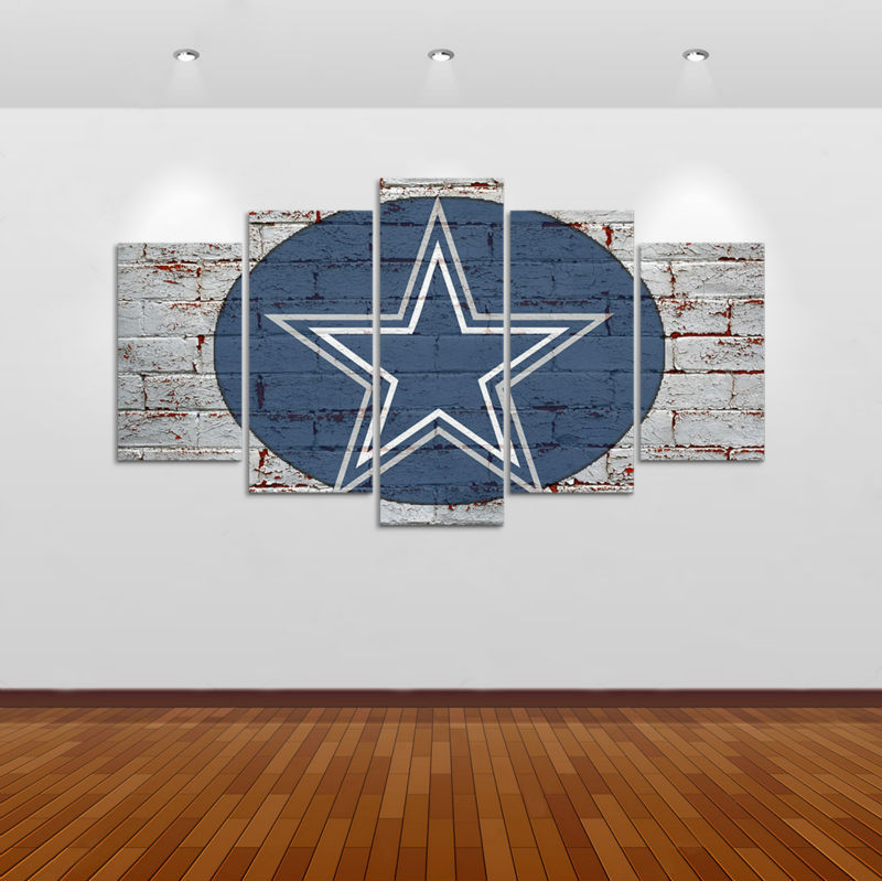 Dallas Cowboys Football Canvas Wall Art: 5 Pcs HD Printed Dallas Cowboys Football Game Picture