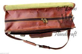 Leather Messenger bag men's satchel shoulder women briefcase laptop vintage bags image 6