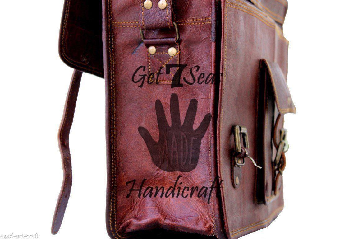 Leather Messenger bag men's satchel shoulder women briefcase laptop vintage bags image 3