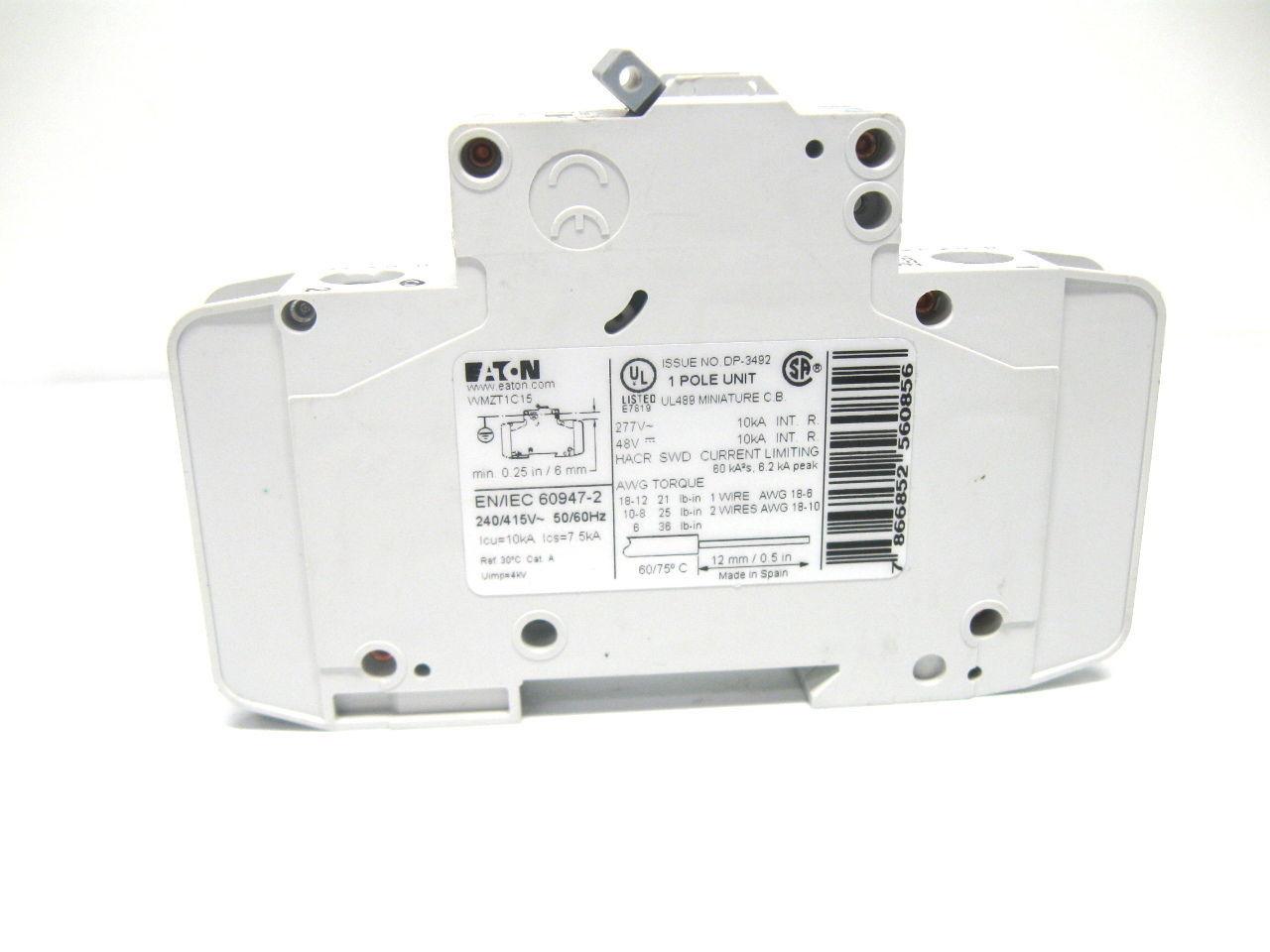 Eaton Wmzt1c15 Circuit Breaker 15 Amp 1 And 50 Similar Items Faz Miniature Breakers Pole 277 V