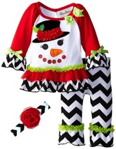 Rare Editions Big Girl Tween Chevron Stripe Snowman Dress Legging Headband Set image 1