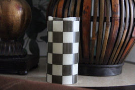 Flameless LED Pillar Candle made with Black and White Tissue Paper - $19.99