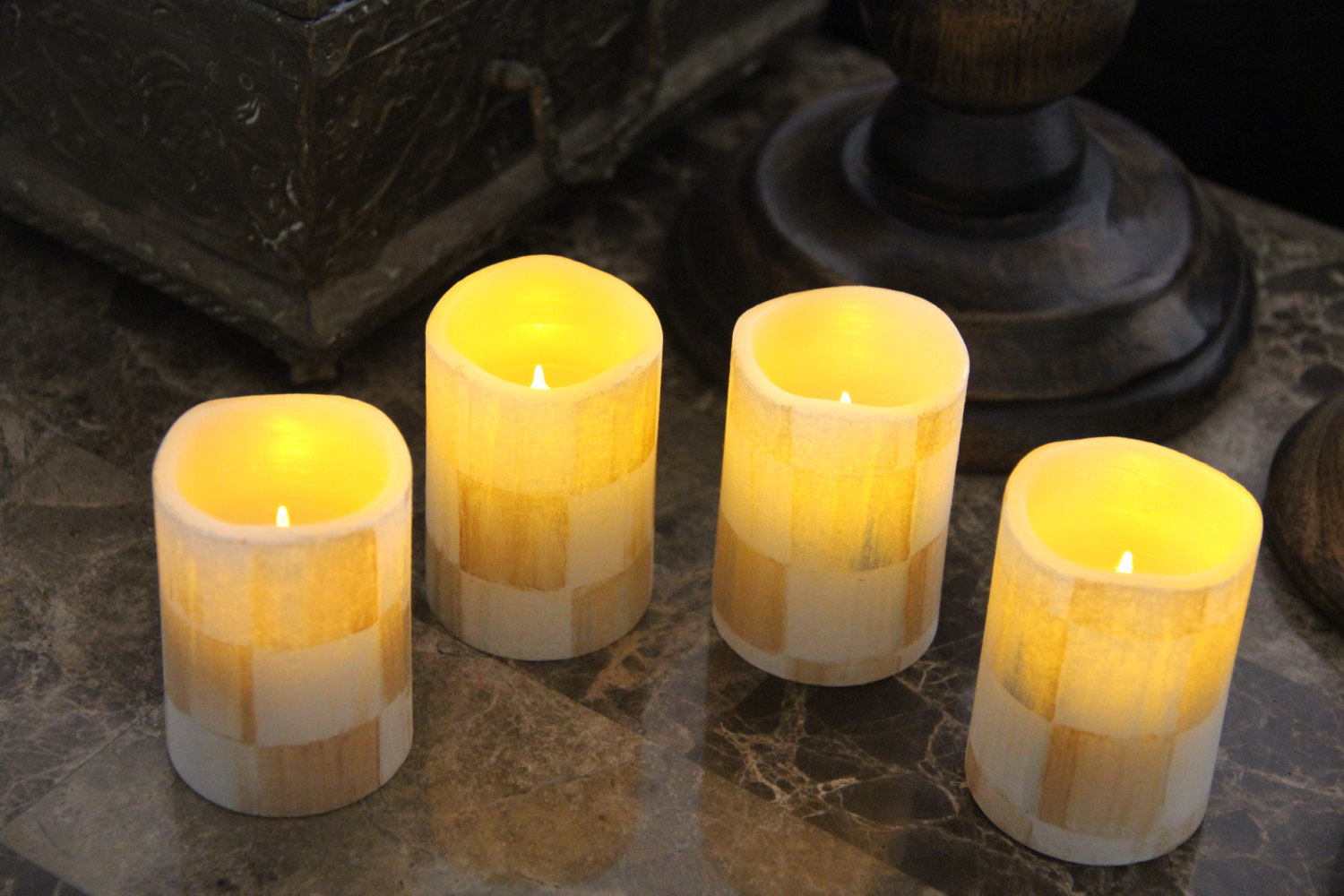 Vanilla Flameless LED Candles made w//Mackenzie Childs Courtly Ck Tissue w//Remote
