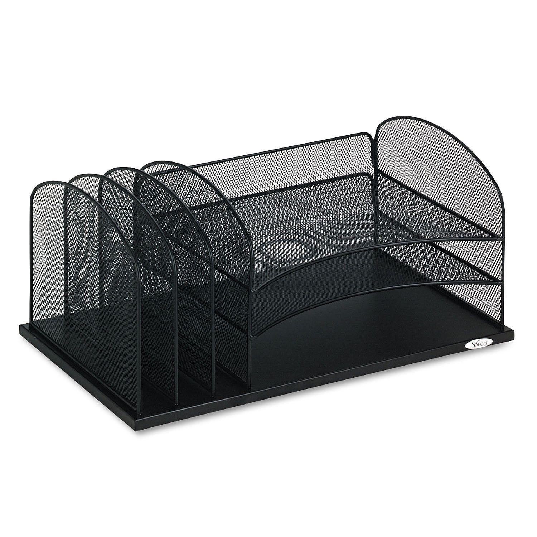 Safco mesh horizontal desk organizer black desk - Black mesh desk organizer ...
