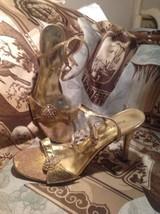 "Pierre Dumas Rhinestone Women's 3"" Heels Gold Crackle Ankle Strap Sandals Sz 9M - $29.69"