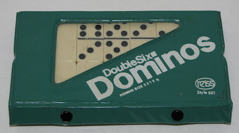 VTG Reiss Double Six Dominos Complete Set 28 in Snap Case Style 501