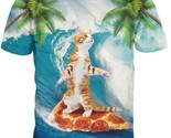 Cute kitty cat surfing on pizza 3d palm tree summer  fabulous t shirt thumb155 crop