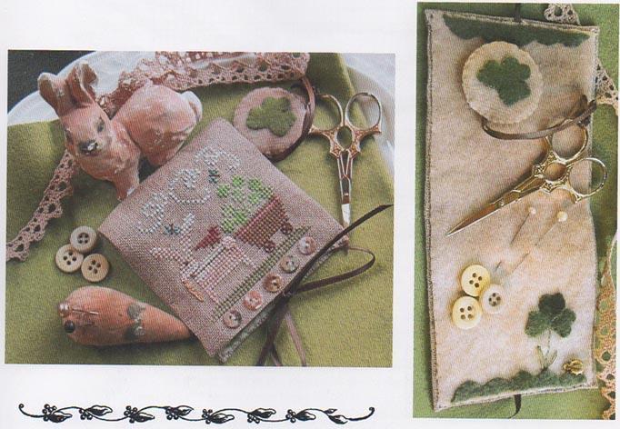 Shamrock Bunny Needle Case w/emb cross stitch chart Homespun Elegance