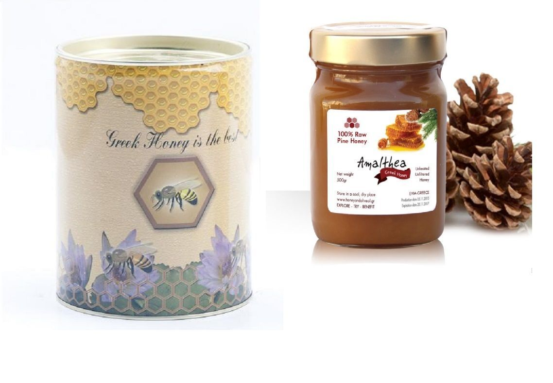 Pine Raw Honey Canister 400gr from EVIA of Greece NEW HARVEST