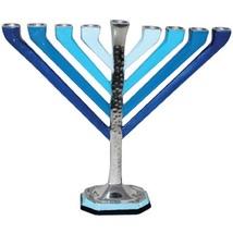 Judaica Hanukkah Menorah Hammered Silver Aqua Blue Aluminum Candles/Oil Israel