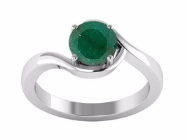 1.35 Carat Shiny Emerald Gemstone 925 Sterling Silver Women Ring Sz 8 SH... - $29.53