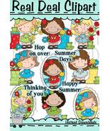 Dumplin Girls Frogs and Flowers Clip Art - $1.25