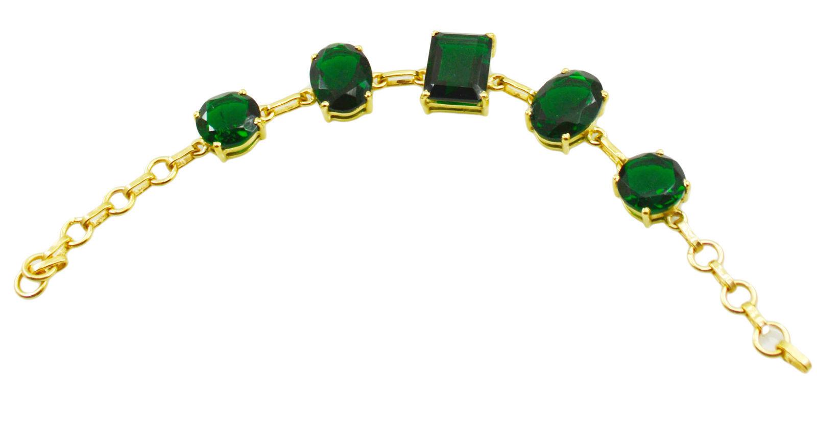 resplendent Emerald CZ Gold Plated Green Bracelet genuine india US gift