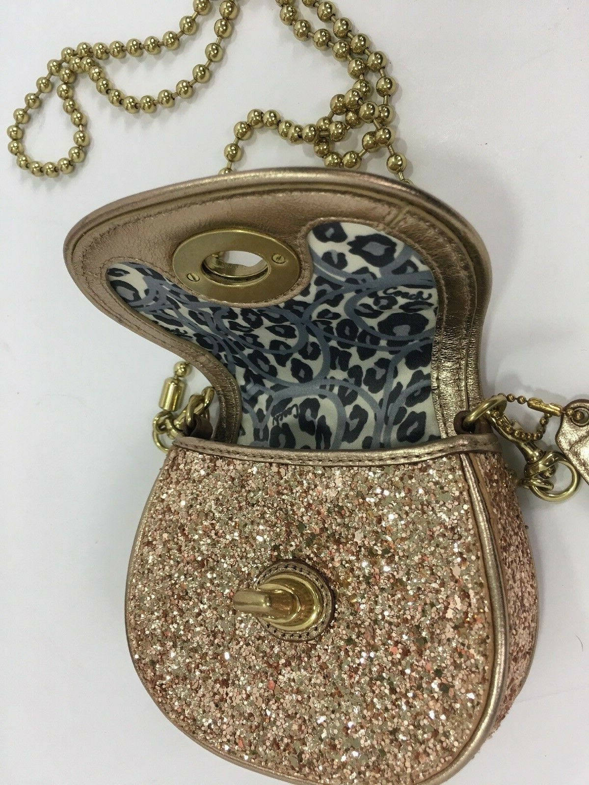 Coach Bag Evening Poppy Gold Sequin Crossbody Leather Chain 43292 Gold B2E image 8