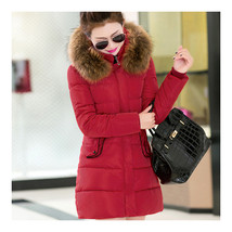 Winter Cotton Coat Slim Middle Long Fur Collar Hoodied    red    M - $54.99