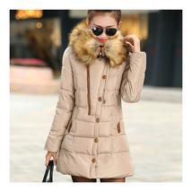 Winter Woman Slim Middle Long Plus Size Down Coat   khaki   L - $51.99