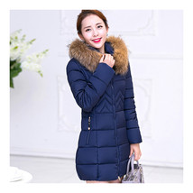 Woman Slim Middle Long Hoodied Thick Fur Collar Down Coat    navy   M - $49.99
