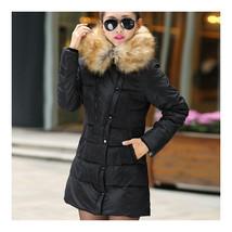 Winter Woman Slim Middle Long Plus Size Down Coat   black   L - $51.99