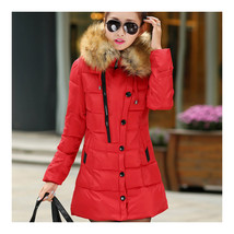 Winter Woman Slim Middle Long Plus Size Down Coat   red    L - $51.99