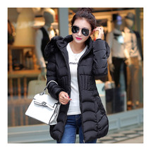Winter Cotton Coat Woman Middle Long Slim Fur Collar    black    L - $49.99