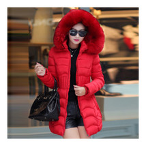 Winter Cotton Coat Woman Middle Long Slim Fur Collar   bright red    L - $49.99