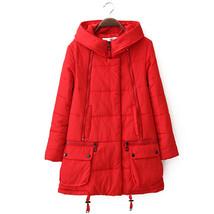Winter Loose Plus Size Woman Middle Long Cotton Coat   red    M - $59.99