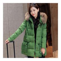 Winter Loose Plus Size Woman Middle Long Cotton Coat   green   M - $59.99