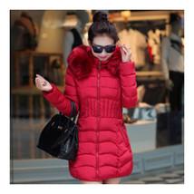 Winter Cotton Coat Woman Middle Long Slim Fur Collar   wine red   L - $49.99