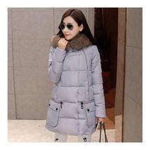 Winter Loose Plus Size Woman Middle Long Cotton Coat   grey   M - $59.99