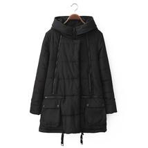 Winter Loose Plus Size Woman Middle Long Cotton Coat    black    M - $59.99