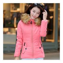 Winter Woman Slim Hoodied Cotton Coat   pink   S - $47.99