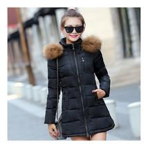 Winter Woman Slim Middle Long Down Coat   black    M - $58.99