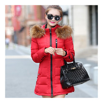Winter Woman Slim Middle Long Down Coat   red   M - $58.99