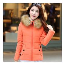 Winter Woman Slim Hoodied Cotton Coat   orange   S - $47.99