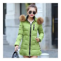 Winter Woman Slim Middle Long Down Coat   green   M - $58.99
