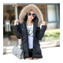 Winter Slim Hoodied Fur Collar Middle Long Cotton Coat   black    M - $51.99