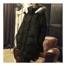 Woman Winter Thick Loose Middle Long Down Coat    black   S - $71.99