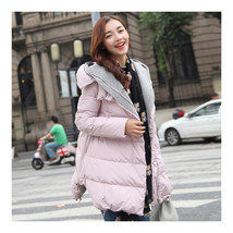Woman A Shape Thick Hoodied Woolen Middle Long Down Coat    pink    S - $79.99