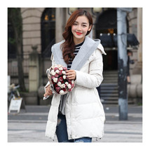 Woman A Shape Thick Hoodied Woolen Middle Long Down Coat   cream   S - $79.99
