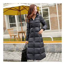 Winter Light Thin Down Slim Coat Extra Long Plus Size    black   S - $118.99