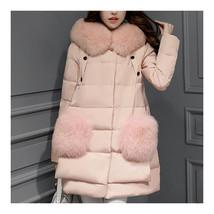 Winter Woman Middle Long Fake Fox Fur A Shape Down Coat    pink   S - $98.99
