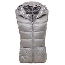 Light Thin Down Coat Waistcoat Polka Dot Vest Woman    gray   S - $36.99
