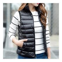 Light Thin Down Coat Waistcoat Short Stand Collar Vest Woman    black   S - $39.99