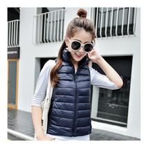 Light Thin Down Coat Waistcoat Short Stand Collar Vest Woman    navy   S - $39.99