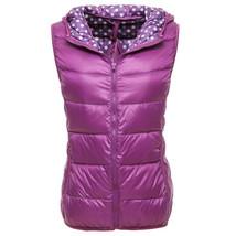 Light Thin Down Coat Waistcoat Polka Dot Vest Woman   purple    S - $36.99